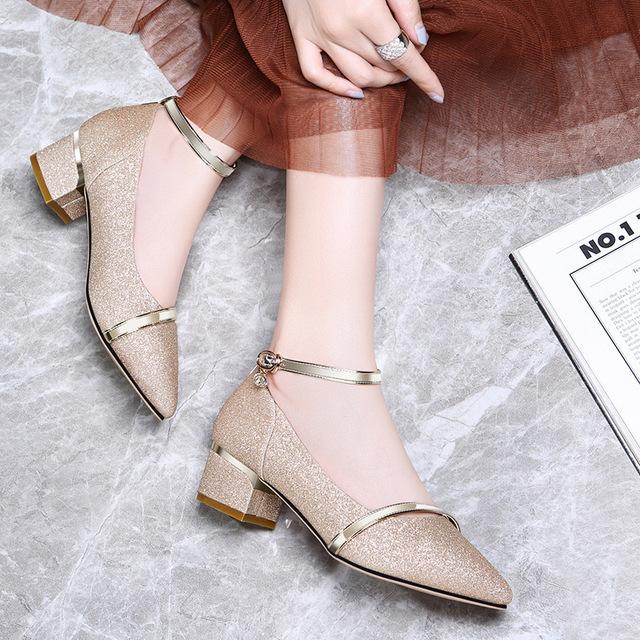 古奇天伦2018春新款时尚韩版百搭方跟中跟尖头单鞋女高跟鞋8691-1
