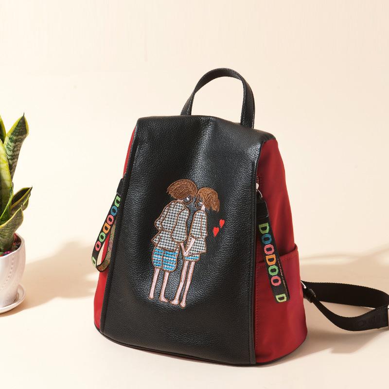 韩版春季刺绣双肩包2018新款大容量旅行包软皮女背包批发一件代发