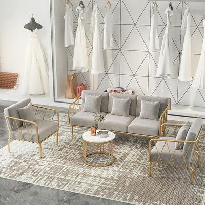 小沙发网红款服装店沙发组合北欧简约现代办公室会议接待铁艺沙发