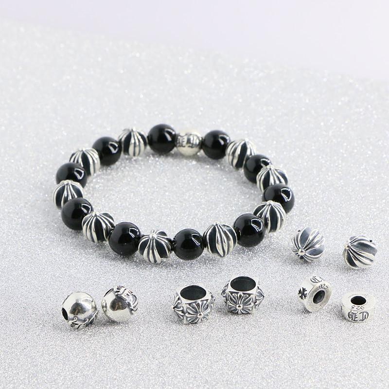 泰银diy手工手链手串配件 隔珠珠子复古CH字线纯银十字架串珠圆珠