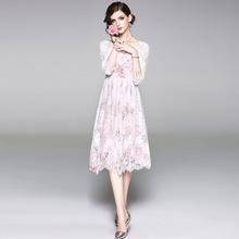 ?#20998;?#31449;新款秋季外贸女装蕾丝两件套连衣裙百搭圆领七?#20013;?#36830;衣裙