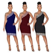 大碼2018 亞馬遜標準碼 歐美性感熱銷時尚女裝斜肩格紋連衣裙