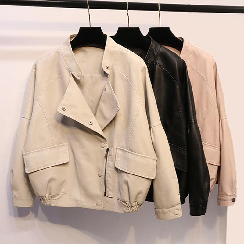 女式宽松版大口袋皮衣2020春秋装新款短款海宁机车服皮夹克pu外套