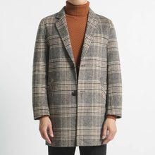 秋冬新款英伦潮男士中长款羊毛呢子韩版修身风衣休闲格子大衣外套