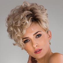 亚马逊爆款欧美假发 女士时尚高温丝短款微卷假发女现货批发