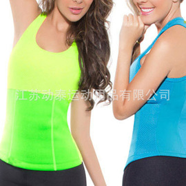 Women's mesh exercise breathable straps, vests, running, fitness, sweating, abdominal blouses.