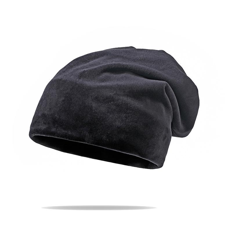 帽子秋冬纯色学生韩版女潮韩国百搭保暖针织帽加厚天鹅绒套头帽