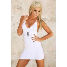 欧美爆款亚马逊新款露背吊带裙纯色挂脖性感夜店连衣裙 特价促销