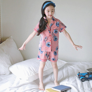 J4016 Korean version Xia style shirt fashion pajamas children's suit color stripe home Flower Printed pajamas