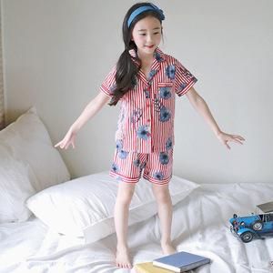 J4016 Korean version Xia style shirt fashion pajamas children's suit color stripe home Flower Printed pajamas