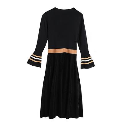 2018秋季针织拼接丝绒大摆收腰显瘦连衣裙MH1680