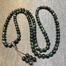 天然墨西哥黑曜石全绿眼108颗手链佛珠,佩戴保平安一件代发