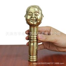 宇卓銅器純銅拐杖頭黃銅龍頭四面佛鷹頭猴子拐杖頭工藝品擺件