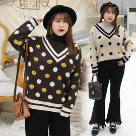 Double-day winter new style love big size women's plus fertilizer increase V-neck dot smiley sweater 3720