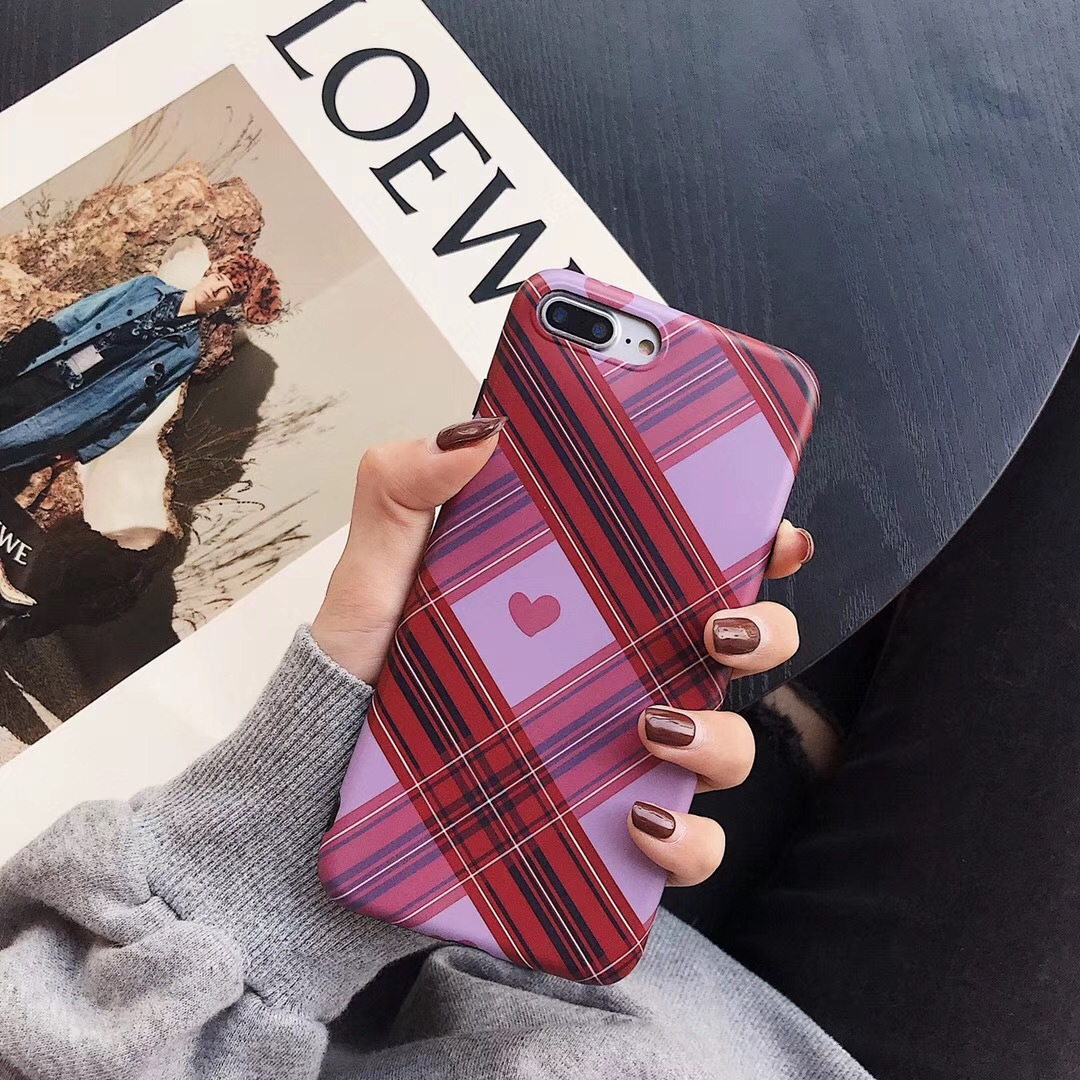 Girl Plaid Red Love for Apple xs max Mobile Shell iphone6s/8/7plus Scrub xr Soft Shell