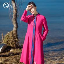 厂销18春季原创新款民族风文艺长款外套中式复古宽松绣花女装