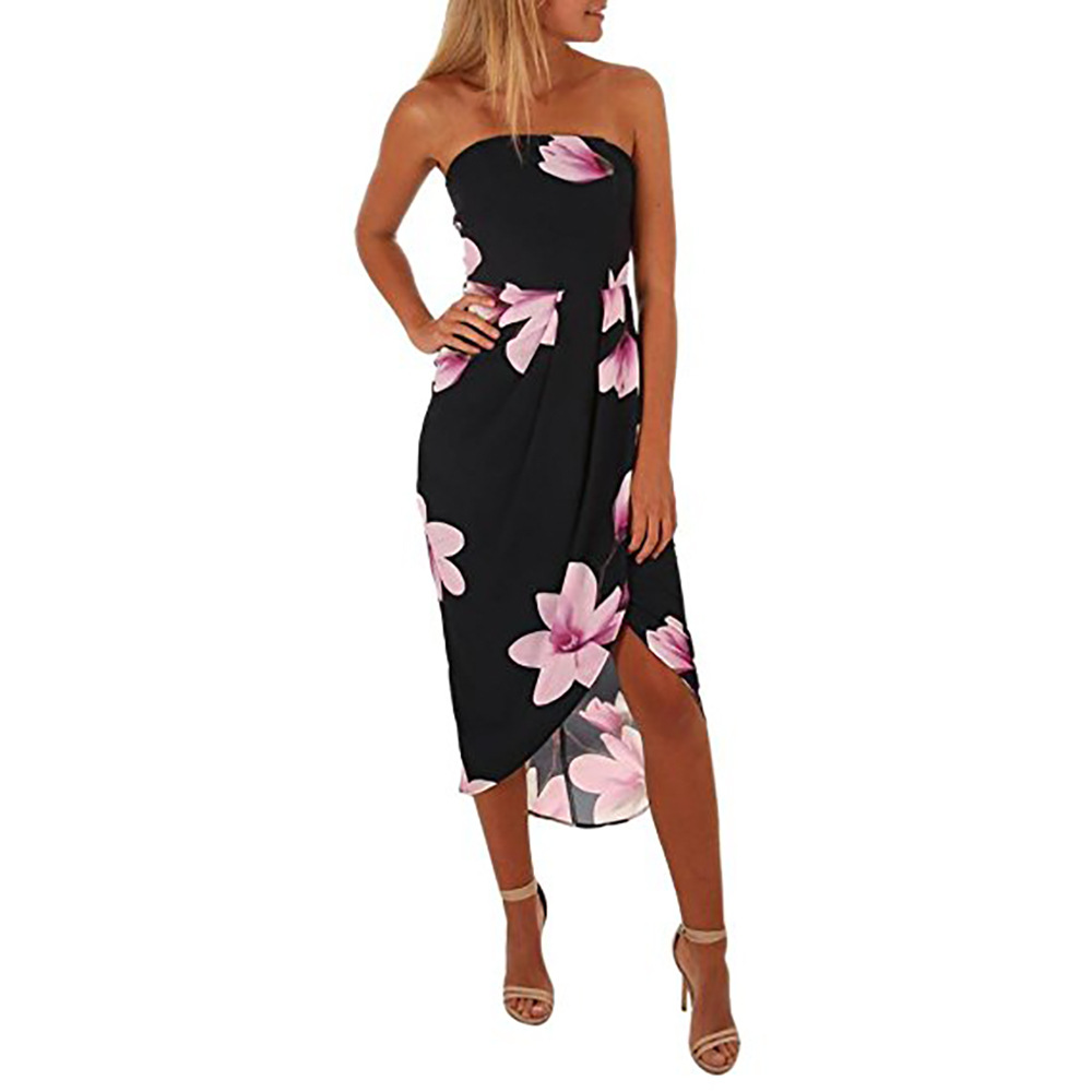 2019 spring and summer Amazon explosion sexy wrapped chest chiffon print tie irregular ladies dress dress