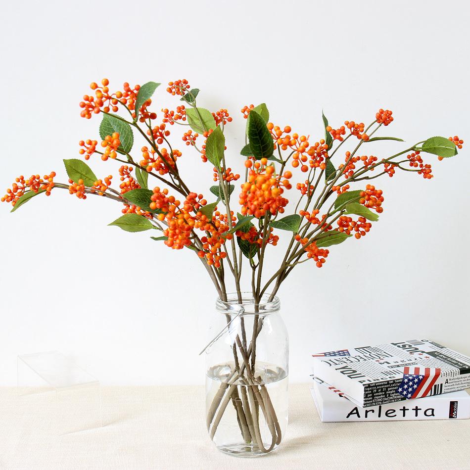 塑料花假花批发仿真塑料小果子仿真果子枝家居装饰仿真花摆件浆果