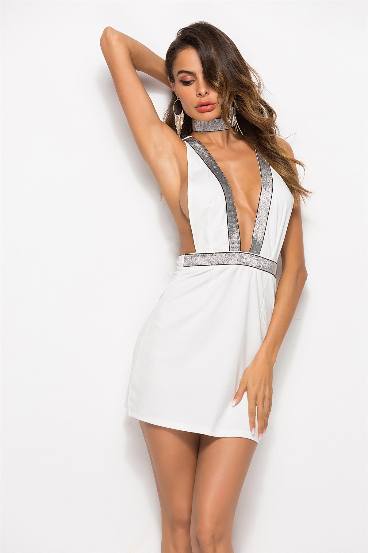 Polyester Fashionskirt(White-M) NHDF0835-White-M