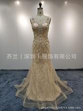 新款晚禮服跨境專供高檔蕾絲釘珠重工性感氣質長款