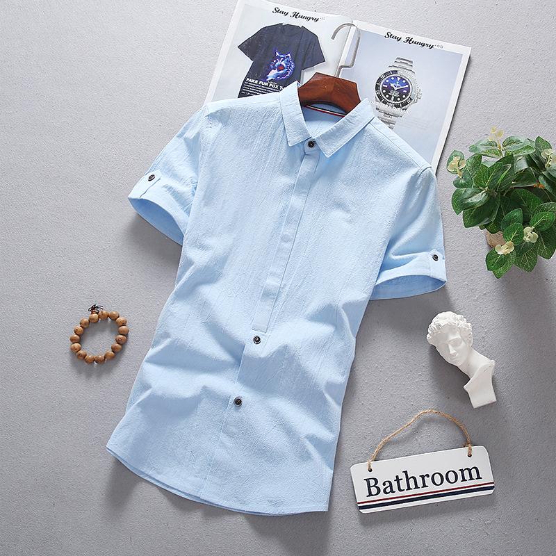 精品衬衫男士2019夏季新款青年韩版修身纯棉透气男式短袖衬衣潮
