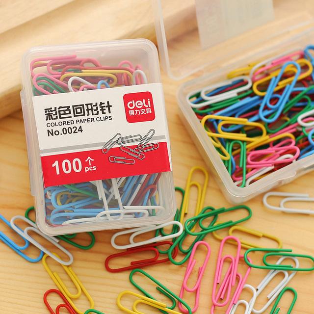 Deli得力0024彩色回形针 创意回形针 曲别针 分类书签 100枚盒装