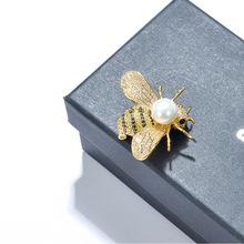 2019韓版新款蜜蜂胸針 高檔毛衣西服配飾珍珠胸花別針絲巾扣批發
