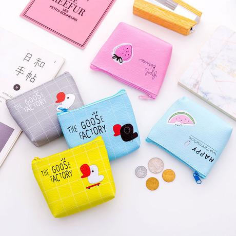 Hàn Quốc sáng tạo ví da đồng xu Ví nhỏ túi khóa kéo