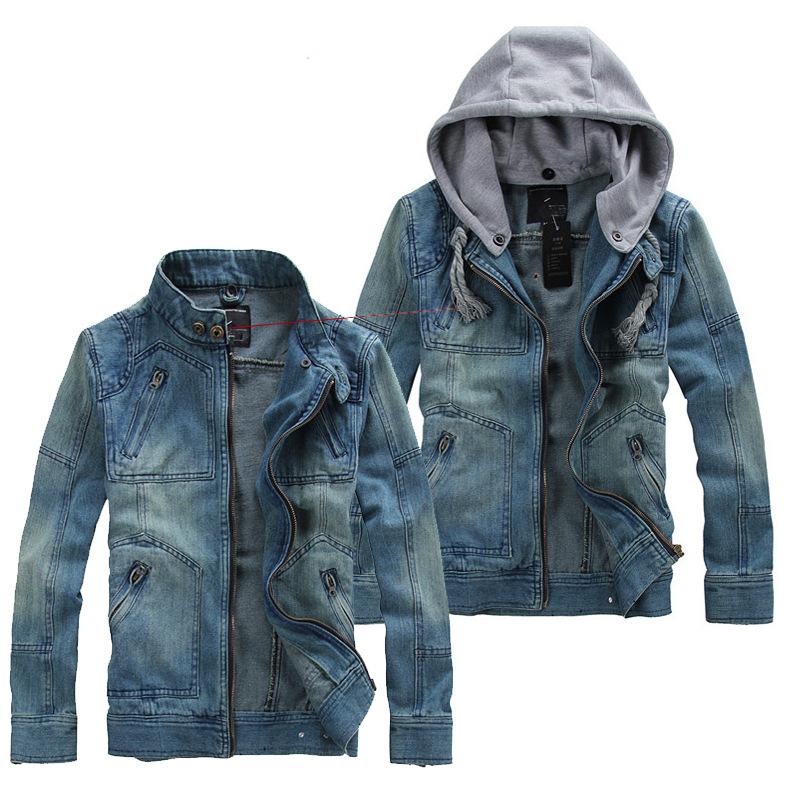 Spring and autumn new men's large denim jacket Korean slim hooded denim jacket men's denim jacket