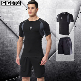 New summer sweat suit two-piece stretch quick-drying workout clothes casual training running sportswear suit men
