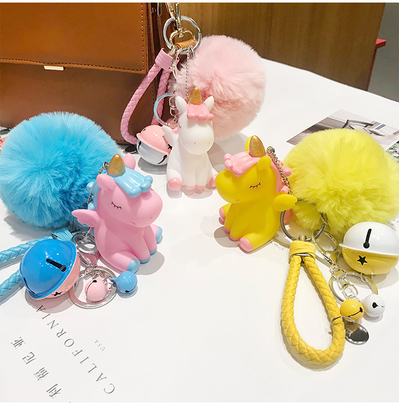 Cartoon unicorn key chain creative rex rabbit fur ball bell bag car ornament gift giveaway NHCB199162