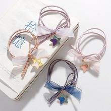 4韩国少女心粉色高弹力手绳皮筋元气可爱星空头绳打结发绳皮筋发