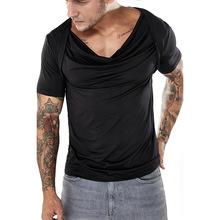 2018夏季新款纯色修身T恤衫时尚堆堆领褶皱T恤嘻哈休闲短袖T恤男