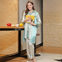 Yao Ting new spinning silk pajamas ladies spring long-sleeved trousers home service suits  SQ638