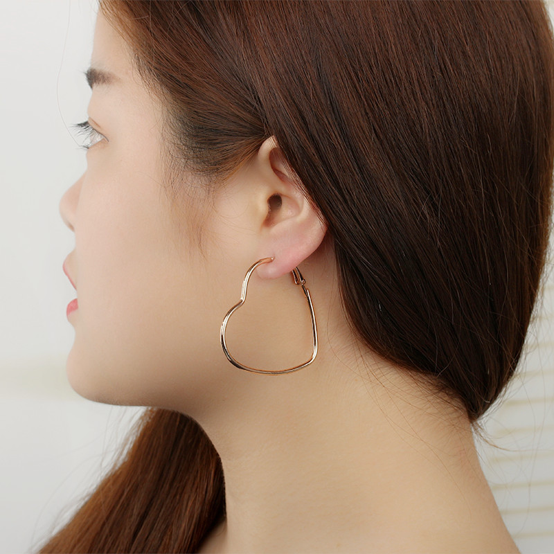 欧美时尚OL大圈心形桃心爱心耳环 金属电镀饰品女生节日礼物赠品