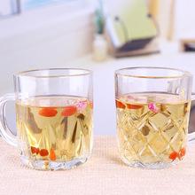 批发定制玻璃茶杯咖啡杯带手柄办公室家用泡茶水杯礼品促销杯