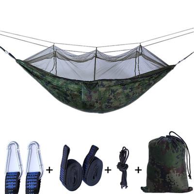 现货蚊帐吊床户外野营双人尼龙吊床带蚊帐降落伞布厂家批发可定制