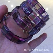 厂家直销 天然萤石手牌 通透水晶饰品玻璃体 手环 单圈手串批发