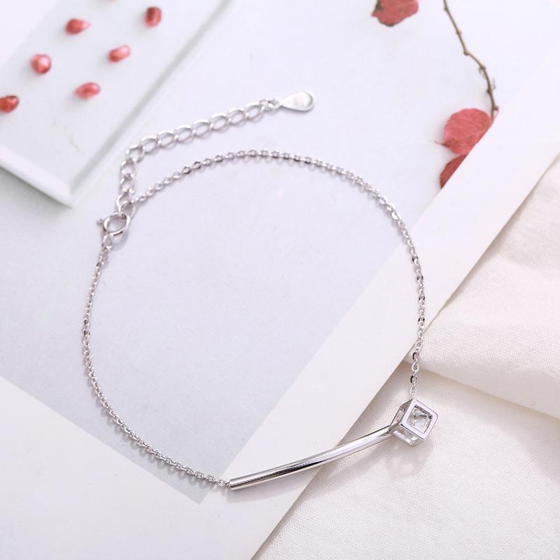 半月弯管几何魔方S925纯银手链 韩版气质百搭银饰品