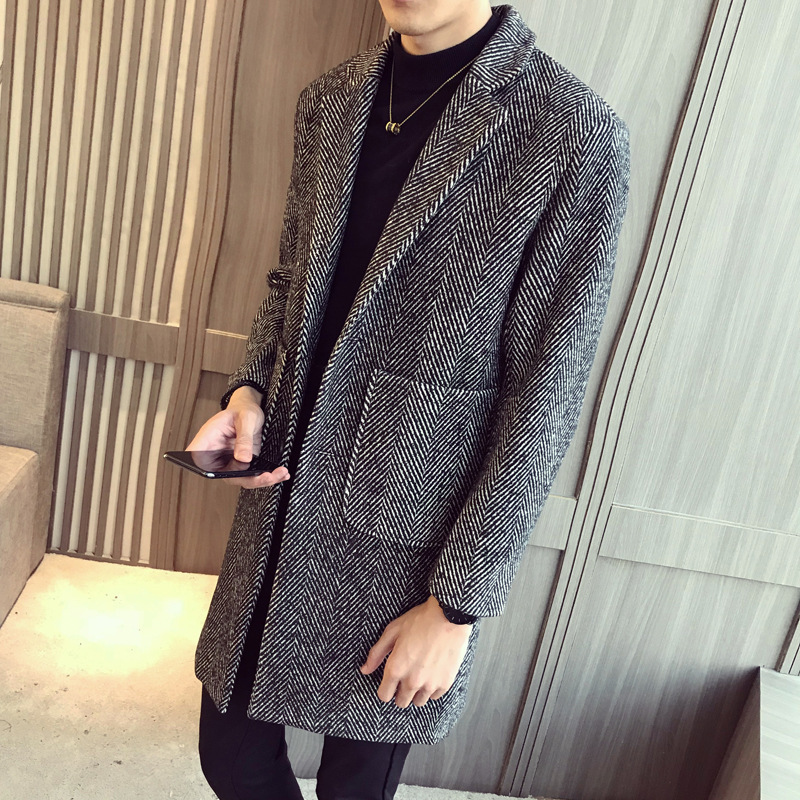 风衣男士2018新款中长款条纹休闲外套披风韩版潮流冬装呢料大衣