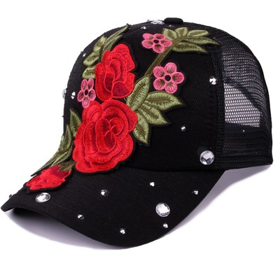 Women summer beach sunhats hat Embroidered Flower breathable mesh hat inlaid with diamond charming hat versatile sunshade hat trendsetter