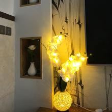 新款蝴蝶兰花瓶小夜灯仿真花LED室内客厅卧室USB装饰灯新品