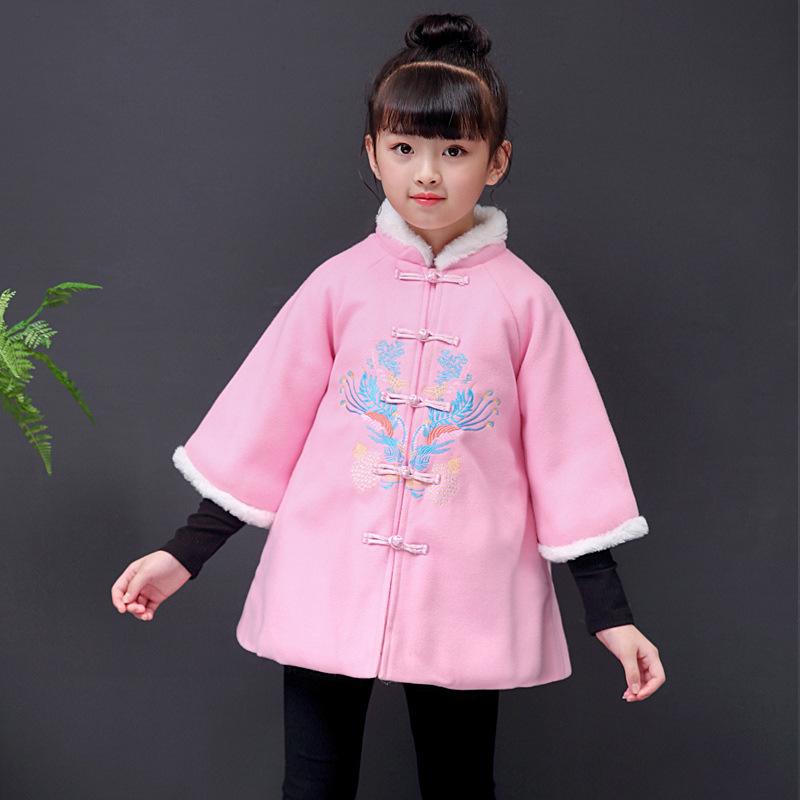 2019冬季新款女童刺绣旗袍夹棉呢外套新年儿童唐装过年拜年小礼服