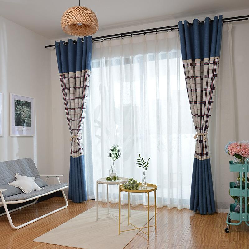 直销可散剪批发窗帘布 加厚亚麻提花窗帘布 客厅卧室色织遮光窗帘