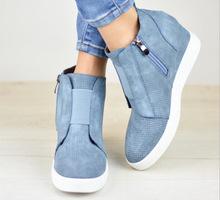 2018年秋冬款混色歐美風定制款短靴外貿坡跟增高運動休閑短靴