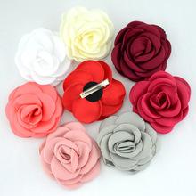 9厘米卷边绸缎布料烧边手工定型花朵 diy儿童宝宝发夹发饰配饰