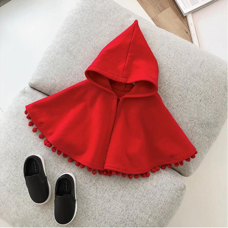 婴儿秋冬款红色连帽斗篷儿童外出披肩女童圆球花边针织宝宝披风绒