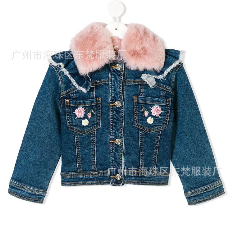 牛仔童装外套来图来样制版 刺绣花卉丹宁夹克加工包工包料