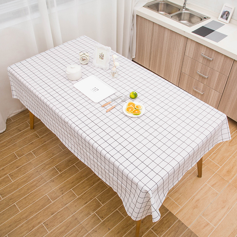 2810简约桌布ins风格子防水防油餐桌布家用客厅北欧茶几餐垫台布T