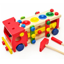 Wood new children's educational toys wooden knocking ball disassembly screws disassembly assembly